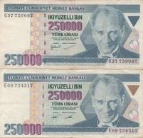 Turquie Turkey : Pair De 2 Billets Jumeaux 250000 Lirasi (sans Et Avec PUCE?) - Turquie