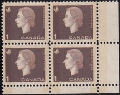 Canada 1963 MNH Sc #401p 1c QEII Cameo W2B Wide Selvedge LR - Números De Planchas & Inscripciones