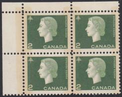 Canada 1963 MNH Sc #402p 2c QEII Cameo W2B Wide Selvedge UL - Plate Number & Inscriptions