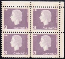 Canada 1963 MNH Sc #403p 3c QEII Cameo Purple W2B Narrow Selvedge UR - Números De Planchas & Inscripciones