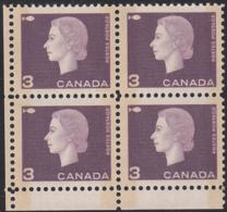 Canada 1963 MNH Sc #403p 3c QEII Cameo Purple W2B Narrow Selvedge LL - Plate Number & Inscriptions