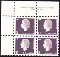 Canada 1963 MNH Sc #403ii 3c QEII Cameo Dark Purple Plate #3 UL - Números De Planchas & Inscripciones