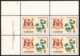 Canada 1964 MNH Sc #418 5c White Trillium Ontario Plate #1 UL - Num. Planches & Inscriptions Marge