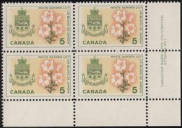Canada 1964 MNH Sc #419 5c White Garden Lily Quebec Plate #1 LR - Num. Planches & Inscriptions Marge