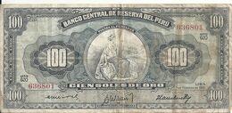 PEROU 100 SOLES DE ORO 1961 VG+ P 79 C - Peru