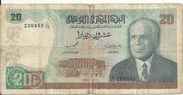 TUNISIE 20 DINARS 1980 VG+ P 77 - Tunisia