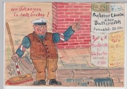 (D595) Original Zeichnung, Scherzbild Hamburger Städtereinigung 1953, 21x15cm - Altri