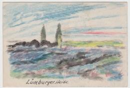 (D493) Lüneburger Heide, Original Gemälde M. Tusche U. Wachsmalstift - Altri