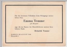 (D484) Trauerkarte Emma Temme Geb. Marquard, Hameln 1948 - Altri