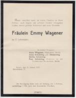 (D482) Trauerbrief Fräulein Emmy Wagener, Bonn 1917 - Altri