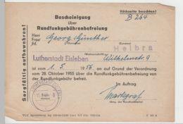 (D431) Bescheinigung ü. Rundfunkgebührenbefreiung, 1956 - Altri
