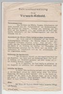 """(D429) Vorwerk """"Kobold"""" Gebrauchsanweisung, A5-Blatt - Altri"""
