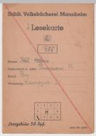 (D385) Städt. Volksbücherei Mannheim, Lesekarte F. Helene Uhl 1946-47 - Altri