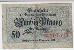 (D225) Notgeld Der Stadt Wiesbaden, 50 Pf., Kriegsjahr 1917 - [ 3] 1918-1933 : República De Weimar