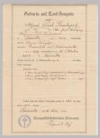 (D59) Geburts- Und Taufzeugnis, Alfred P. Landgraf, Lößnitz I.S. 1910 - Altri