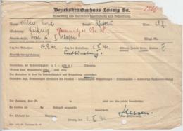 (D17) Abmeldungsschein Bez-Krankenhaus Leisnig 1941 - Altri
