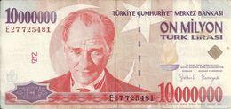 TURQUIE 10 MILLION LIRA 1999 VF P 214 - Turquie