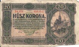 HONGRIE 20 KORONA 1920 VG+ P 61 - Hungary