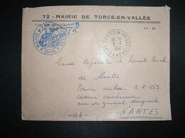 LETTRE MAIRIE OBL. Tiretée 9-2 1967 72 TORCE EN VALLEE SARTHE - Cachets Manuels