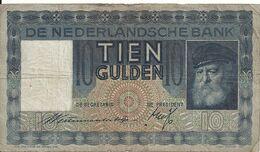 PAYS-BAS 10 GULDEN 1939 VF P 49 - [2] 1815-… : Koninkrijk Der Verenigde Nederlanden