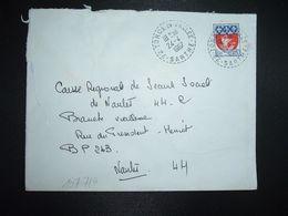 LETTRE TP BLASON PARIS 0,30 OBL. Tiretée 24-4 1967 72 TORCE EN VALLEE SARTHE CHAMPIONNAT DE FRANCE MOTO-CROSS 4 Mai - 1961-....