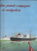 SUPERBE BROCHURE  UNE GRANDE COMPAGNIE DE NAVIGATION - COMPAGNIE GENERALE  TRANSATLANTIQUE - Barche