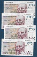 Belgique  - 4 Billets De 100 Francs - 100 Frank