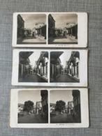 1900 Rare Lot De 3 Cartes Stéréoscopiques Stéréo ATHENES Stéréotypes Αθήνα Début 1900 Rues Eole Lysicrate De Platon - Griechenland
