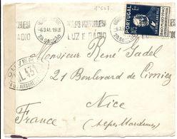 LETTRE PORTUGAL ENV 1941 LISBOA CENTRAL N° 607 SEUL / LR => FRANCE + BANDE ET CENSURE WL431 = NARBONNE ( AUDE ) - 1910-... République