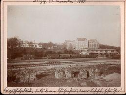 ! 1 Foto Auf Hartpappe, Photo, Bahnhof Hohes Thor, Danzig Kriegsschule, 1895, Format 9,3 X 12,2 Cm - Bahnhöfe Mit Zügen