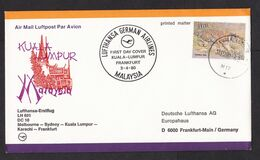 Malaysia: FFC First Flight Cover To Germany, 1980, 1 Stamp, Tiger, Lufthansa Kuala Lumpur-Frankfurt (traces Of Use) - Malaysia (1964-...)
