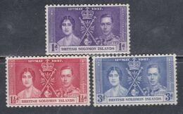 Salomon N° 55 / 57 X Couronnement De George VI : Les 3 Valeurs Trace De Charnière Sinon TB - British Solomon Islands (...-1978)