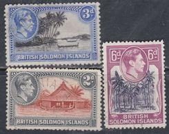 Salomon N° 61 + 63 + 65 O Partie De Série : George VI : Les 3 Valeurs Oblitérées, Sinon TB - British Solomon Islands (...-1978)