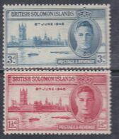 Salomon N° 71 / 72 X Anniversaire De La Victoire : Les 2 Valeurs Trace De Charnière, Sinon TB - British Solomon Islands (...-1978)