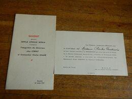 CUESMES: MENU +INVITATION AU BANQUET DU CERCLE AFRICAIN BORAIN -INAUGURATION MEMORIAUX COM.LEMAIRE ET JULES CORNET-1937 - Menus