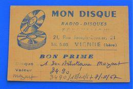 VIENNE ISÈRE BON PRIME VALEUR 34 FR 90 MON DISQUE RADIO DISQUES 1967 - Musica & Strumenti