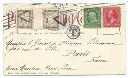 TAXE 10C PAIRE INTERPANNEAU TRIANGLE DE PARIS CARD USA 1C+2C 1899 YOESMITE TREES BIG - Marcophilie (Lettres)