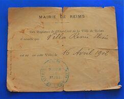 16 AVRIL 1902 MAIRIE DE REIMS REGISTRE DE LA VILLE ACTE DE NAISSANCE EST NEE VILLA RENÉE ELYSÉE  FAIRE PART MANUSCRIT - Nascita & Battesimo