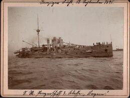 ! Altes Foto Auf Hartpappe, Panzerschiff Bayern, Kriegsmarine, Danziger Bucht, 1895, Format 9,3 X 12,2 Cm - Guerra