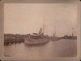 ! Altes Foto Auf Hartpappe, Photo, Panzerschiffe Natter, Kriegsmarine, Danzig Westerplatte, 1895, Format 9,3 X 12,2 Cm - Krieg