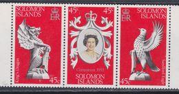 Salomon N° 344 / 46 XX  25è Anniversaire Du Couronnement De S. M. Elisabeth II, Le Triptyque Sans Charnière, TB - British Solomon Islands (...-1978)