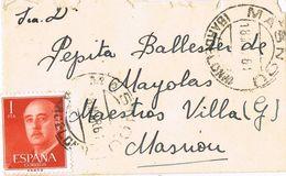 37186. Carta  MASNOU (Barcelona) 1961. Sello Caudillo Pie Imprenta FNMT-B De Barcelona, Num 1290 - 1931-Heute: 2. Rep. - ... Juan Carlos I