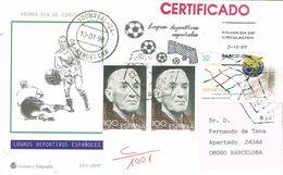 37187. Carta Certificada BARCELONA 1998. Deporte FUTBOL, Football. Remitida De Badalona - 1931-Hoy: 2ª República - ... Juan Carlos I
