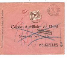 REF1510/ Affran.méc.10c C.Schaerbeek 13/10/39 > BXL Taxée 20 C TTx 34 C.BXL 14/10/39 Barré En Rouge + Taxe Annulée - Portomarken