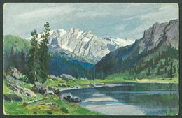 Painting Of A Mountain And A Lake, VF Not Used Postcard #M45 - Postcards