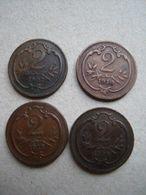 AUTRICHE = 4 PIECES  DE 2 HELLER DE 1907 -1910 -1912-1914- - Oostenrijk