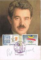 37189. Tarjeta Autografo BARCELONA 1993. PASCUAL MARAGALL. Finusgab 93, Aguas Barcelona - 1931-Hoy: 2ª República - ... Juan Carlos I