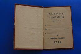 1946 AGENDA TRIMESTRIEL CALENDRIER ANNOTATIONS DIVERSES CARNET REMPLI POUR MÉMOIRE ET RDV - Autres Collections