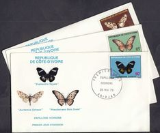 Ivory Coast 1979 / Butterflies / Mi 594-596 / FDC - Costa D'Avorio (1960-...)
