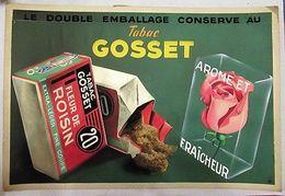 Gosset Fleur De Roisin 20 (tabac) - Magnifique Artwork à La Gouache Sur Carton - 500 X 350 Mm - Reclame-artikelen